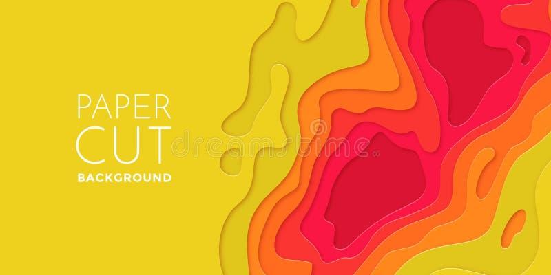 Τα πολυ στρώματα χρωματίζουν την τρισδιάστατη papercut στρωμάτων του εγγράφου σύσταση υποβάθρου τέχνης περικοπών διανυσματική διανυσματική απεικόνιση