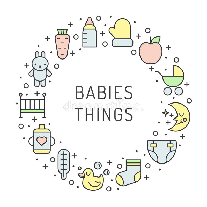 Τα πράγματα μωρών (κορίτσι και αγόρι) περιγράφουν το πολύχρωμο χαριτωμένο διανυσματικό υπόβαθρο πλαισίων κύκλων Σχέδιο Minimalist ελεύθερη απεικόνιση δικαιώματος