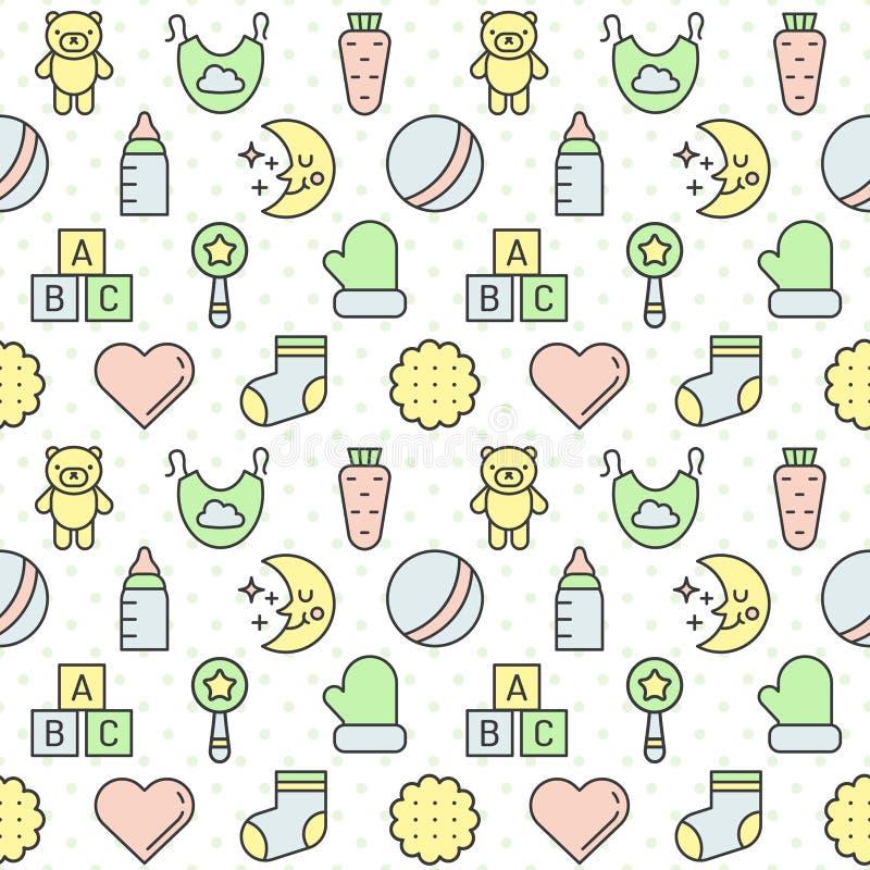 Τα πράγματα μωρών (κορίτσι και αγόρι) περιγράφουν το πολύχρωμο χαριτωμένο διανυσματικό άνευ ραφής σχέδιο Σχέδιο Minimalistic Μέρο ελεύθερη απεικόνιση δικαιώματος