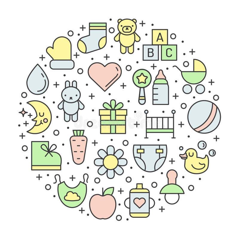 Τα πράγματα μωρών (κορίτσι και αγόρι) περιγράφουν το πολύχρωμο χαριτωμένο διανυσματικό υπόβαθρο κύκλων Σχέδιο Minimalistic διανυσματική απεικόνιση
