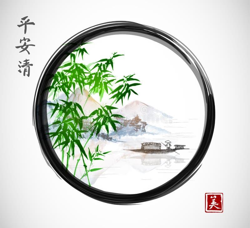 Τα πράσινα δέντρα μπαμπού, το νησί με τα βουνά και το αλιευτικό σκάφος στο μαύρο enso zen περιβάλλουν διανυσματική απεικόνιση