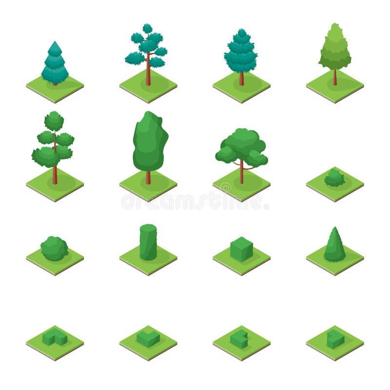 Τα πράσινα δέντρα σταθμεύουν τα αντικείμενα καθορισμένα τα εικονίδια την τρισδιάστατη Isometric άποψη διάνυσμα διανυσματική απεικόνιση