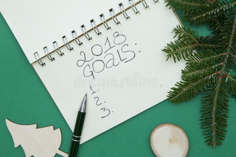 Τα πράσινα Χριστούγεννα ή το νέο υπόβαθρο έτους με ένα σημειωματάριο, ξύλινα παιχνίδια και μια ερυθρελάτη διακλαδίζονται στοκ φωτογραφία