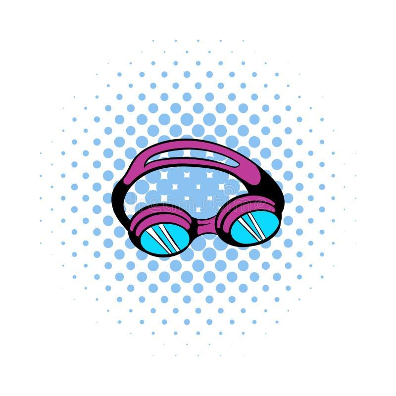 Τα προστατευτικά δίοπτρα για κολυμπούν το εικονίδιο, ύφος comics απεικόνιση αποθεμάτων