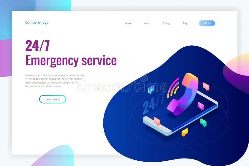 Τα πρότυπα σχεδίου ιστοσελίδας για το τηλεφωνικό κέντρο υποστηρίζουν 24-7 Isometric ανοικτή εξυπηρέτηση πελατών 24 ωρών επίσης co ελεύθερη απεικόνιση δικαιώματος