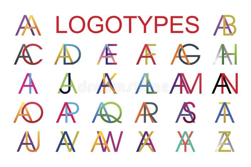 Τα πρότυπα Logotype έκαναν από το συνδυασμό του γράμματος Α με όλες τις επιστολές του αγγλικού αλφάβητου στα διαφορετικά χρώματα διανυσματική απεικόνιση