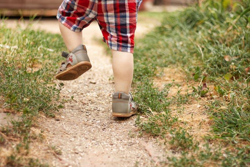 Τα πόδια μωρών πηγαίνουν το καλοκαίρι στοκ φωτογραφίες με δικαίωμα ελεύθερης χρήσης