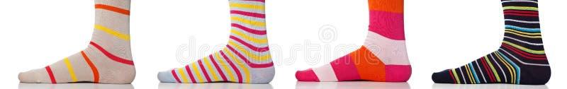 Τα πόδια κλείνουν επάνω να φορέσουν τις ζωηρόχρωμες κάλτσες στοκ εικόνα με δικαίωμα ελεύθερης χρήσης