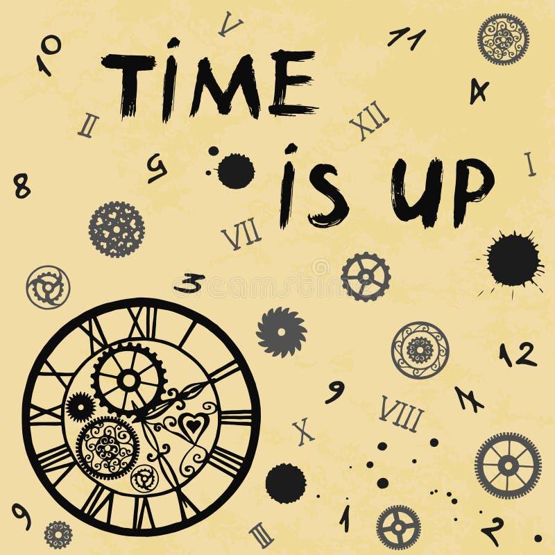 Τα ρολόγια στο βικτοριανό ύφος με το χρόνο επιγραφής είναι επάνω, υπόβαθρο εγγράφου, χέρι που σύρεται στο παλαιό διάνυσμα ελεύθερη απεικόνιση δικαιώματος
