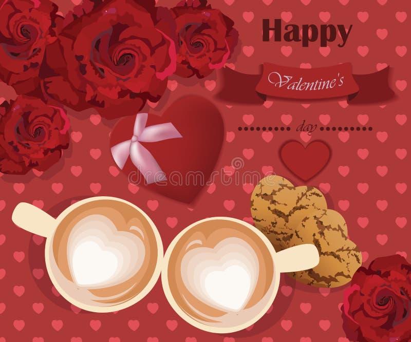 Τα ρομαντικά τριαντάφυλλα αγαπούν δύο φλυτζάνια καφέ στο κόκκινο υπόβαθρο καρδιών απεικόνιση αποθεμάτων