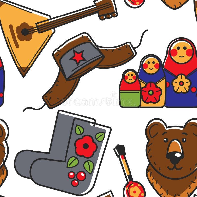 Τα ρωσικά σύμβολα χωρών στερεοτυπούν το άνευ ραφής ταξίδι σχεδίων απεικόνιση αποθεμάτων