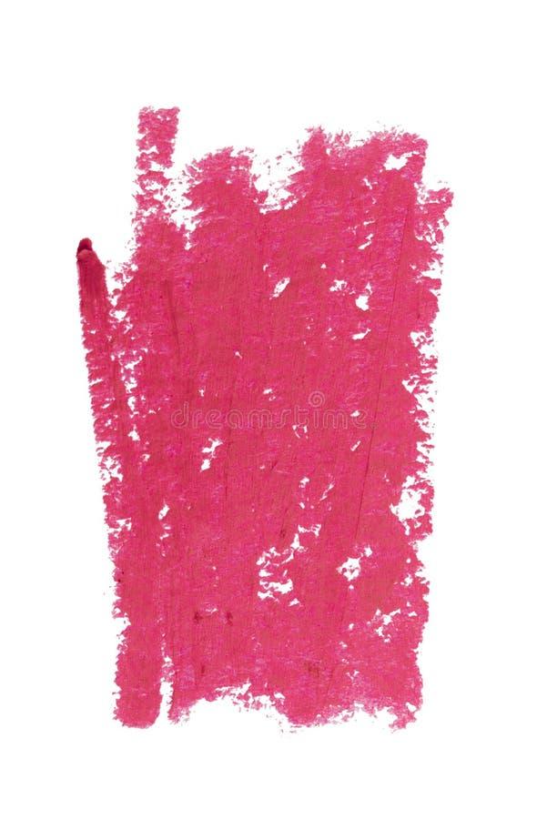 Τα ρόδινα χείλια περιγράφουν το καλλυντικό δείγμα κτυπήματος χρώματος μολυβιών, προϊόν ομορφιάς που απομονώνεται στο άσπρο υπόβαθ στοκ εικόνες