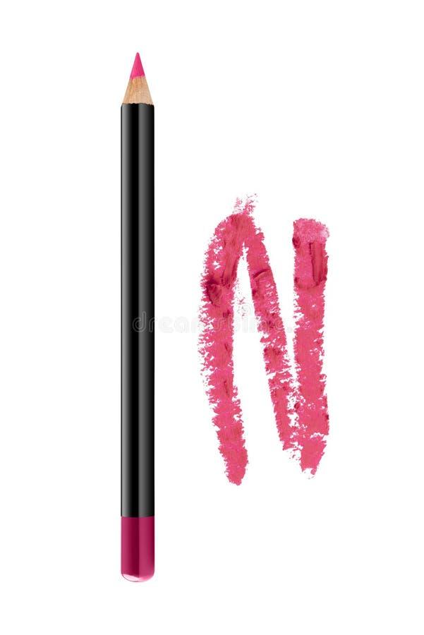 Τα ρόδινα χείλια περιγράφουν το καλλυντικό μολύβι με το δείγμα κτυπήματος χρώματος, προϊόν ομορφιάς που απομονώνεται στο άσπρο υπ στοκ φωτογραφία με δικαίωμα ελεύθερης χρήσης