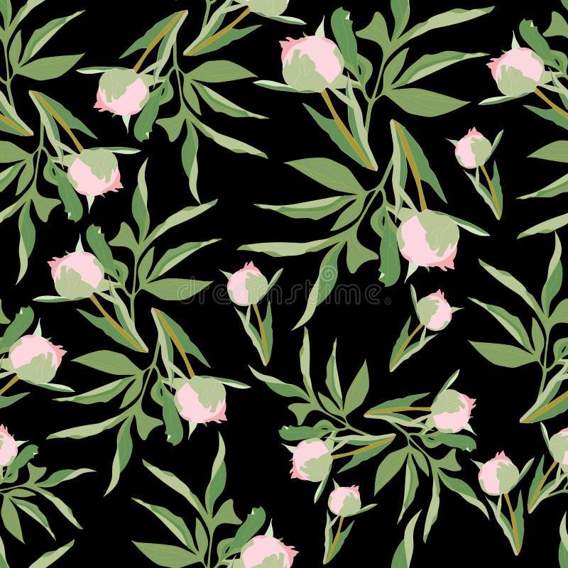 Τα ρόδινα peonies με τα πράσινα φύλλα στο σκοτεινό γκρίζο υπόβαθρο άνευ ραφής επαναλαμβάνουν ελεύθερη απεικόνιση δικαιώματος