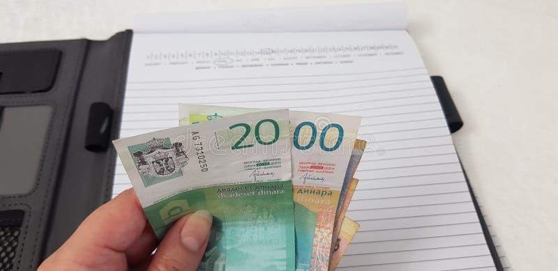 Τα σερβικά τραπεζογραμμάτια dynars στο θηλυκό παραδίδουν το ανοικτό σημειωματάριο στοκ εικόνες