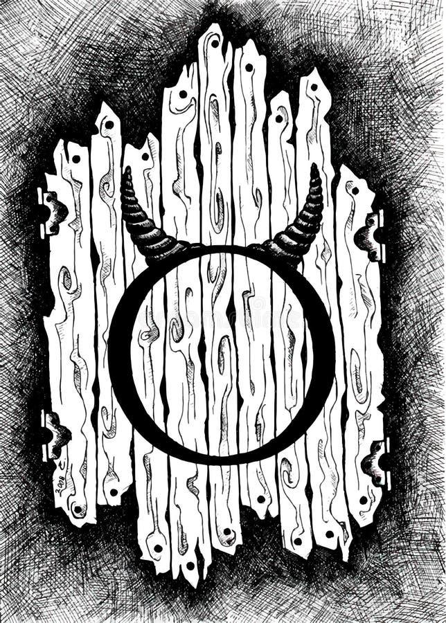 Τα σημάδια zodiac Taurus Γραπτό zodiac σχέδιο που απομονώνεται στο λευκό διανυσματική απεικόνιση