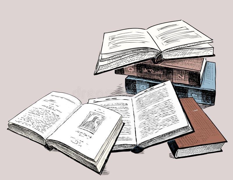 Τα σκίτσα των παλαιών τυπωμένων βιβλίων ελεύθερη απεικόνιση δικαιώματος