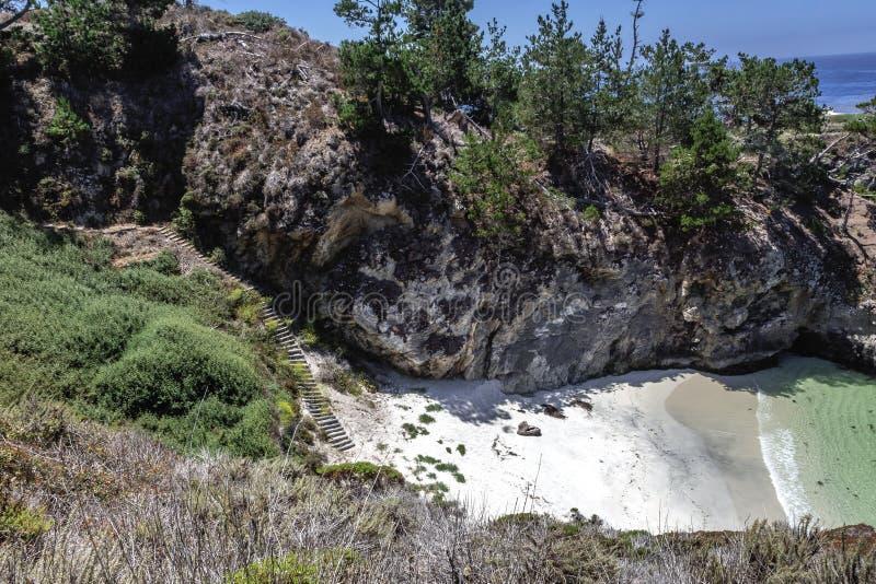 Τα σκαλοπάτια στον όρμο/την παραλία της Κίνας στο σημείο Lobos δηλώνουν τη φυσική επιφύλαξη στοκ φωτογραφία