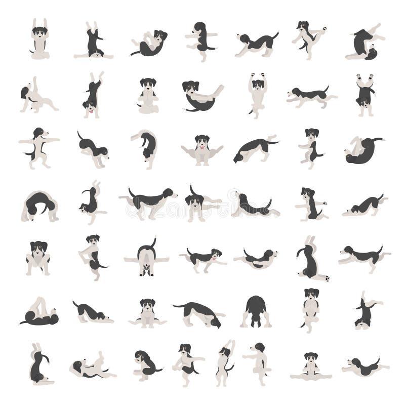 Τα σκυλιά γιόγκας θέτουν και ασκούν να κάνουν clipart Αστείο σχέδιο αφισών κινούμενων σχεδίων απεικόνιση αποθεμάτων