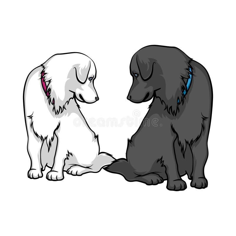 Τα σκυλιά είναι λυπημένα Δύο καλά labradors που εξετάζουν το ένα το άλλο διανυσματική απεικόνιση