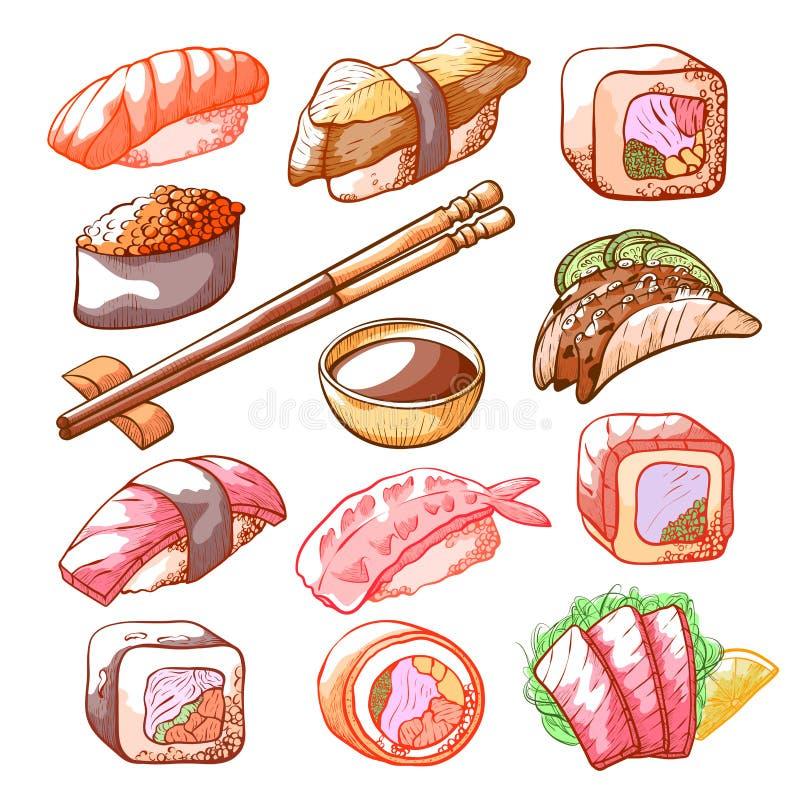 Τα σούσια και οι ρόλοι δίνουν το συρμένο σύνολο τροφίμων απεικόνιση αποθεμάτων