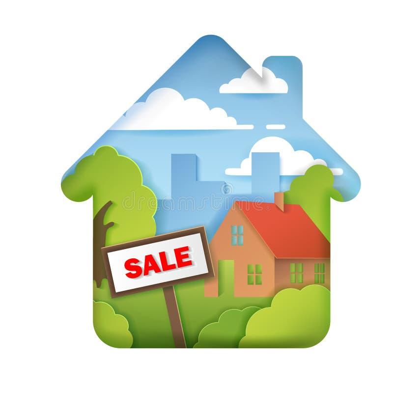 Τα σπίτια για την πώληση, realtor, σπίτι πώλησαν τα σημάδια, τρισδιάστατα ογκομετρικά στρώματα ύφους εγγράφου ελεύθερη απεικόνιση δικαιώματος