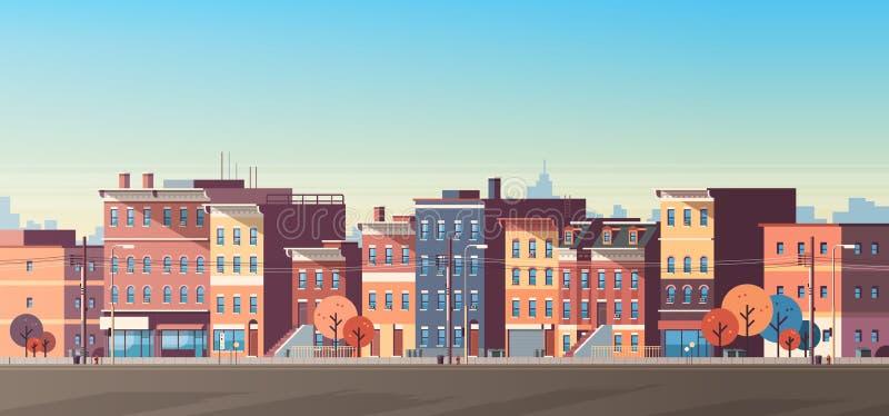 Τα σπίτια οικοδόμησης πόλεων βλέπουν οριζόντων υποβάθρου ακίνητων περιουσιών το χαριτωμένο κωμοπόλεων επίπεδο εμβλημάτων έννοιας  ελεύθερη απεικόνιση δικαιώματος