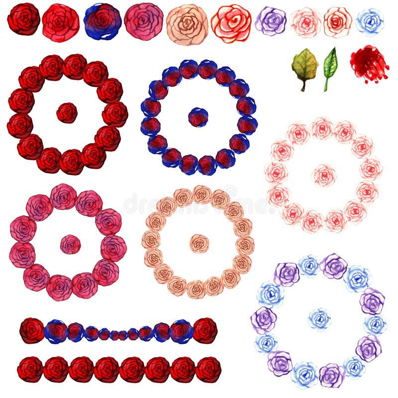 Τα στεφάνια και οι διακοσμήσεις Watercolor από την πολύχρωμη ροδαλή κόκκινη μπλε λεπτή ρόδινη ομορφιά λουλουδιών απομόνωσαν τα σχ απεικόνιση αποθεμάτων