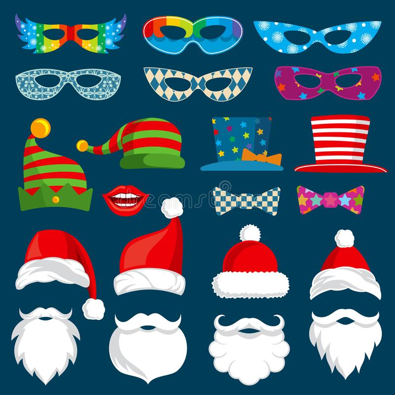 Τα στηρίγματα εγγράφου διακοπών καλής χρονιάς και Χριστουγέννων photobooth απομόνωσαν το διανυσματικό σύνολο απεικόνιση αποθεμάτων