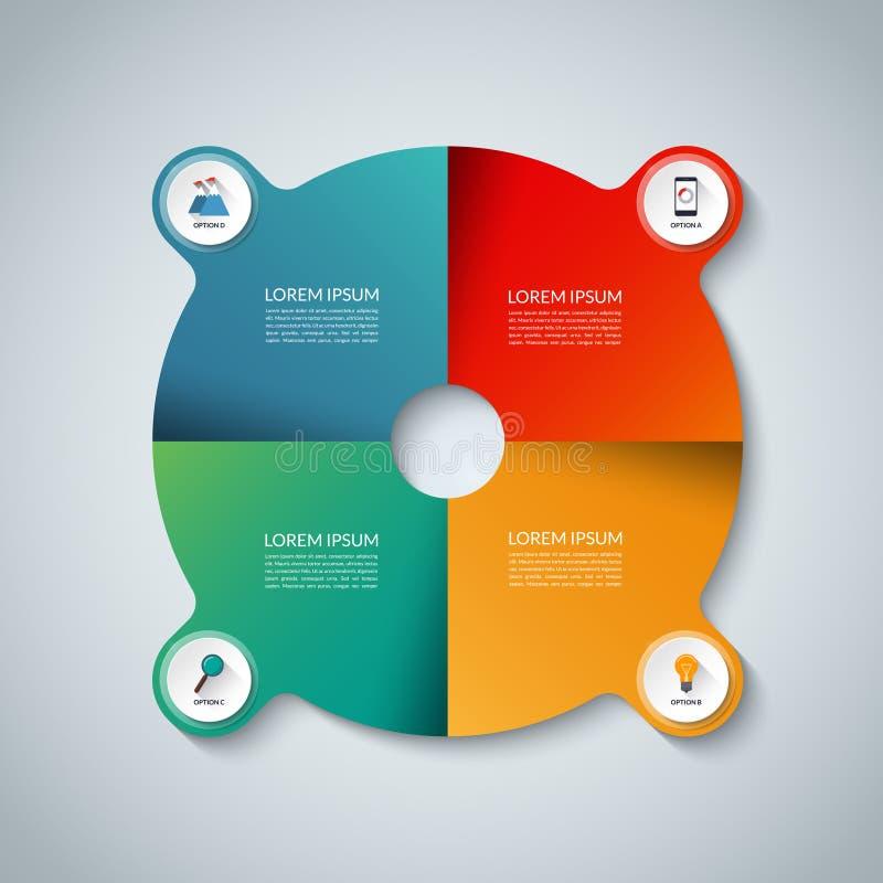 τα στοιχεία αρχειοθετούν το infographic βαλμένο σε στρώσεις χωριστά διάνυσμα Επιχειρησιακό πρότυπο κύκλων με 4 επιλογές διανυσματική απεικόνιση