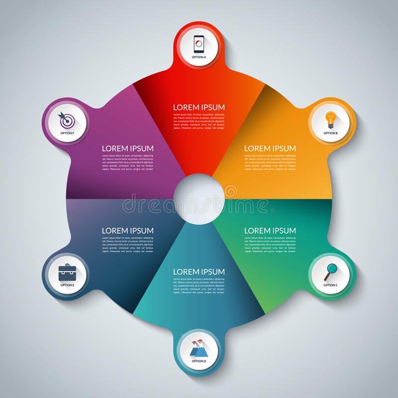 τα στοιχεία αρχειοθετούν το infographic βαλμένο σε στρώσεις χωριστά διάνυσμα Επιχειρησιακό πρότυπο κύκλων με 6 επιλογές ελεύθερη απεικόνιση δικαιώματος