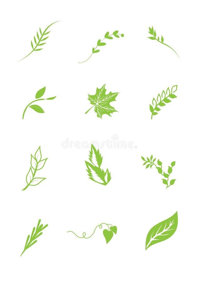 τα στοιχεία βγάζουν φύλλα το λογότυπο διανυσματική απεικόνιση