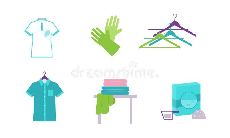 Τα στοιχεία πλυντηρίων καθορισμένα, ο εξοπλισμός και οι εγκαταστάσεις για την πλύση ντύνουν τη διανυσματική απεικόνιση σε ένα άσπ απεικόνιση αποθεμάτων