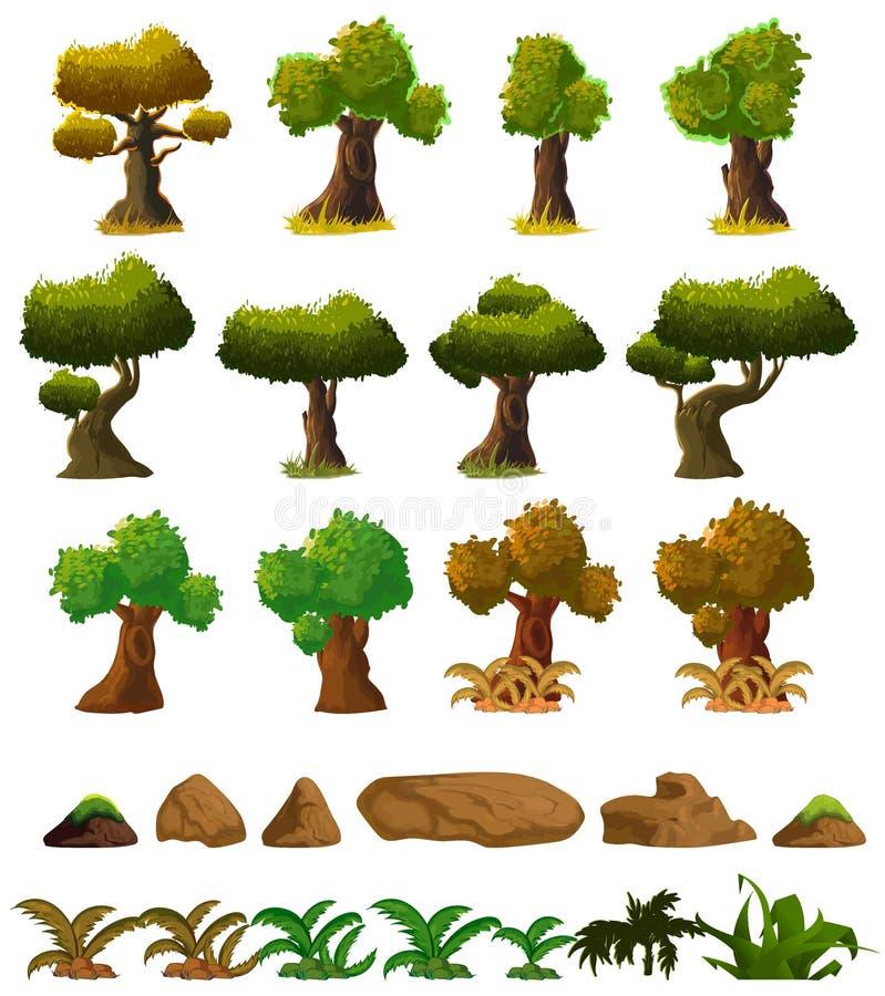 Τα στοιχεία τοπίων φύσης κινούμενων σχεδίων θέτουν, δέντρα, πέτρες και τέχνη συνδετήρων χλόης, που απομονώνεται στο άσπρο υπόβαθρ απεικόνιση αποθεμάτων