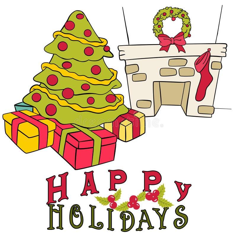 τα στοιχεία Χριστουγέννων ανασκόπησης απομόνωσαν το λευκό διανυσματική απεικόνιση