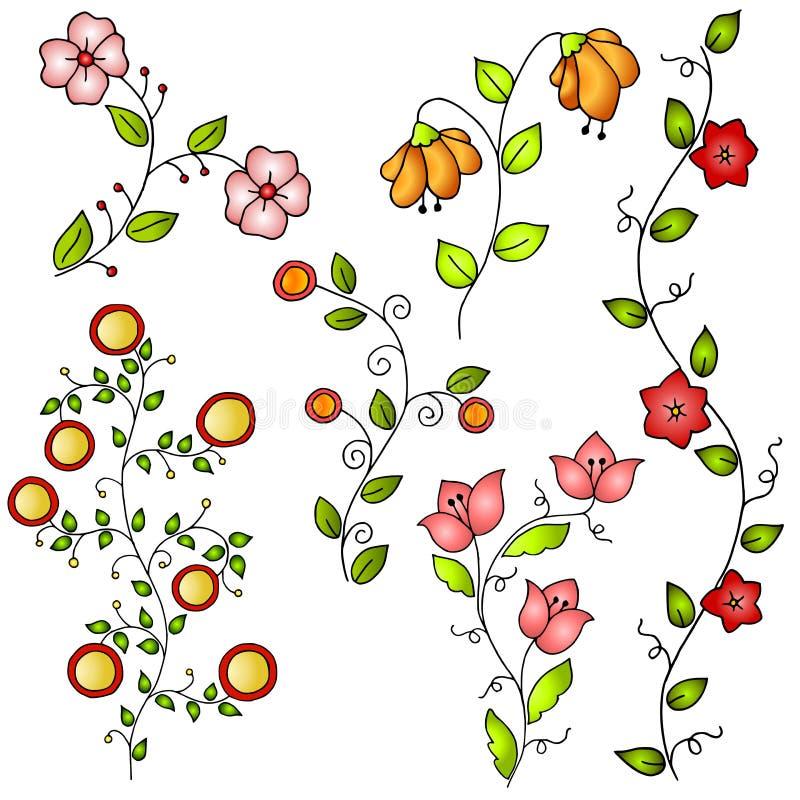 τα συρμένα λουλούδια δίν&o απεικόνιση αποθεμάτων