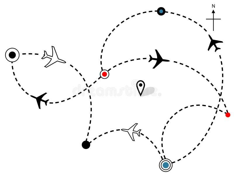 τα σχέδια αεροπλάνων μονοπατιών χαρτών πτήσης αερογραμμών ταξιδεύουν διανυσματική απεικόνιση