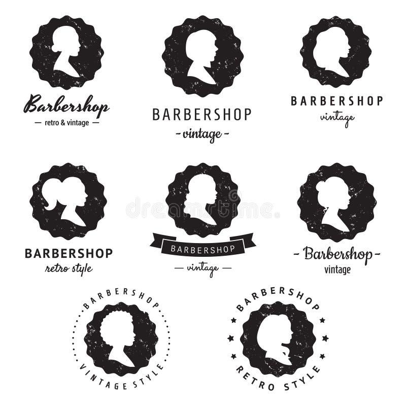 Τα σχεδιαγράμματα γυναικών σκιαγραφούν barbershop (κομμωτήριο) το εκλεκτής ποιότητας διανυσματικό σύνολο λογότυπο-διακριτικών Hip απεικόνιση αποθεμάτων