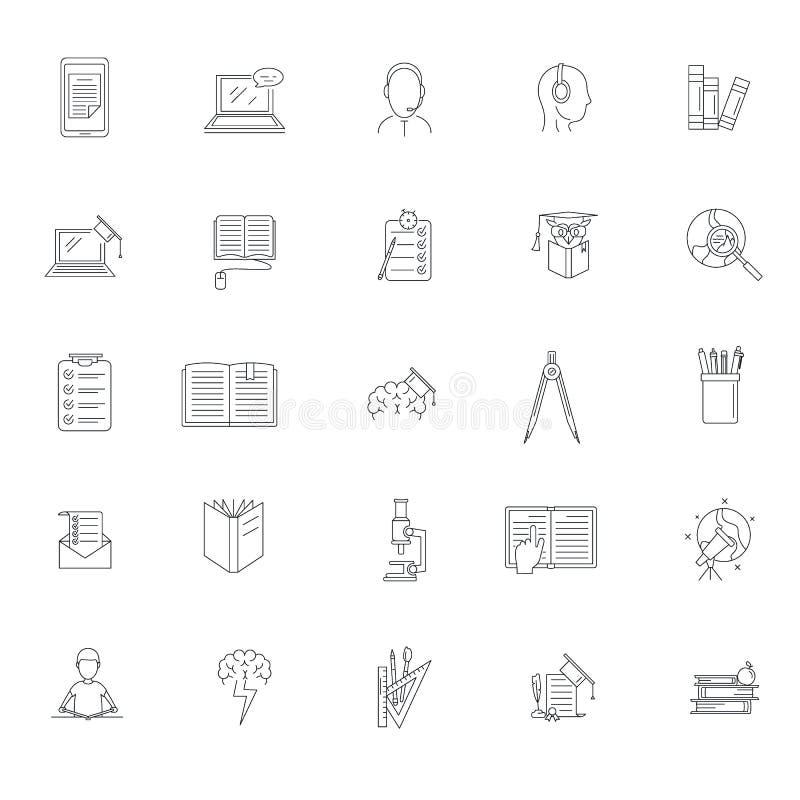Τα σχολικά εικονίδια μελέτης εργασίας καθορισμένα, περιγράφουν το ύφος απεικόνιση αποθεμάτων