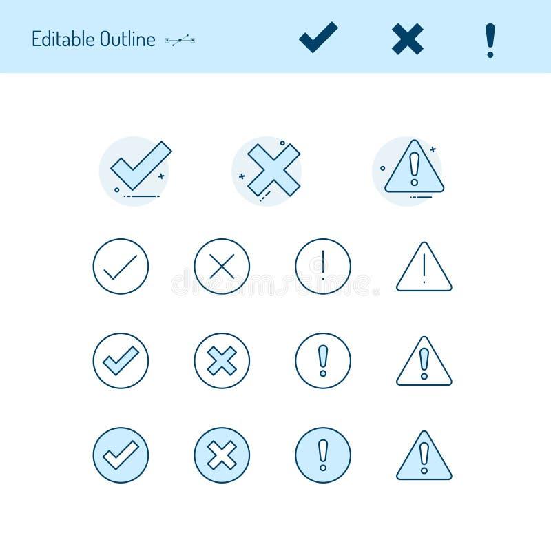 Τα σωστά ανακριβή λεπτά εικονίδια γραμμών, εικονίδιο προσοχής, σωστό λανθασμένο εικονίδιο, δέχονται το απόρριμα, κρότωνας, διαγών διανυσματική απεικόνιση