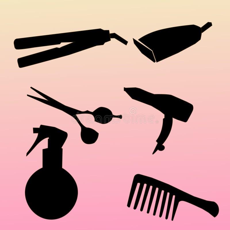 Τα σύγχρονα εικονίδια θέτουν τις σκιαγραφίες hairdressing των εργαλείων Συλλογή συμβόλων hairdressing των εργαλείων που απομονώνε απεικόνιση αποθεμάτων