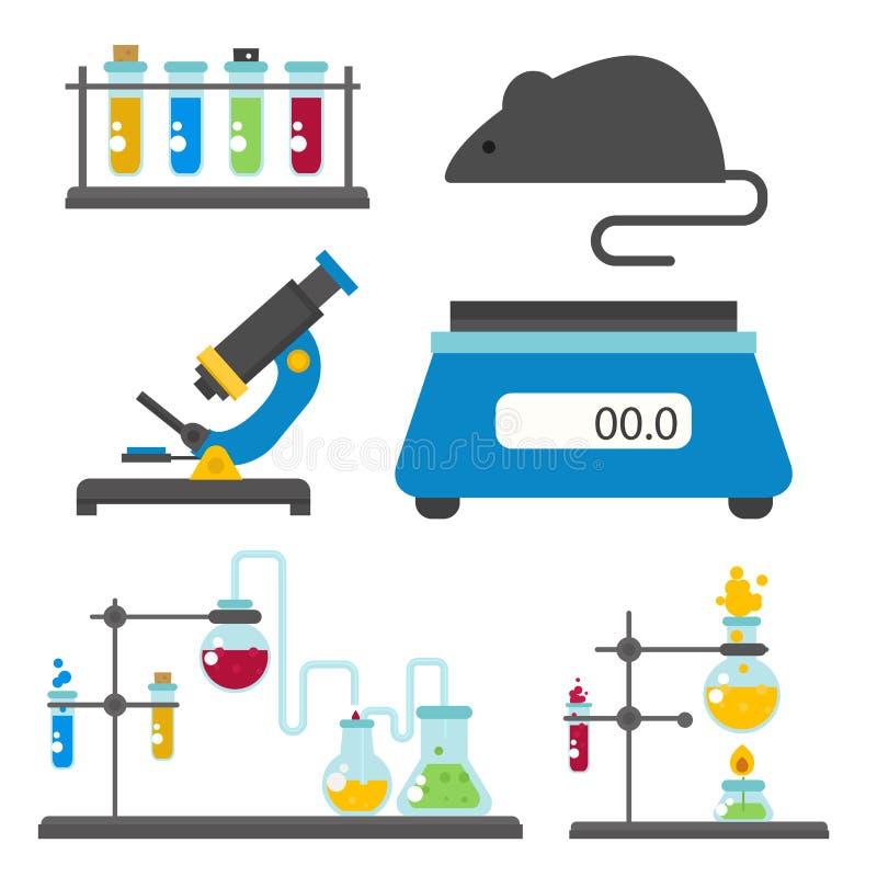 Τα σύμβολα εργαστηρίων εξετάζουν την ιατρική διανυσματική απεικόνιση εικονιδίων χημείας επιστήμης βιοτεχνολογίας σχεδίου της εργα διανυσματική απεικόνιση