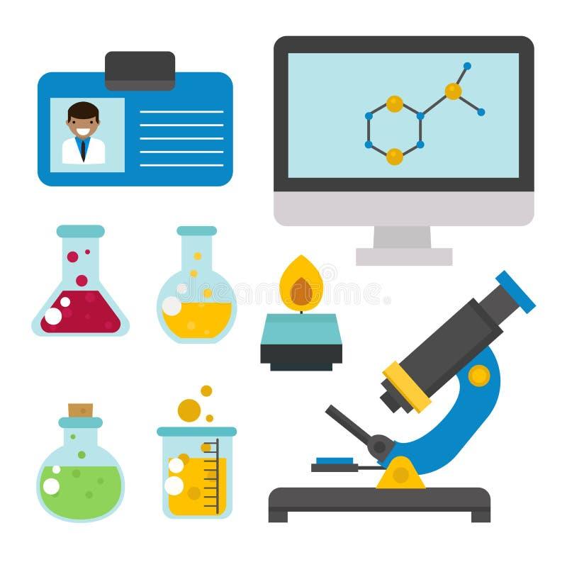 Τα σύμβολα εργαστηρίων εξετάζουν την ιατρική διανυσματική απεικόνιση εικονιδίων χημείας επιστήμης βιοτεχνολογίας σχεδίου της εργα απεικόνιση αποθεμάτων