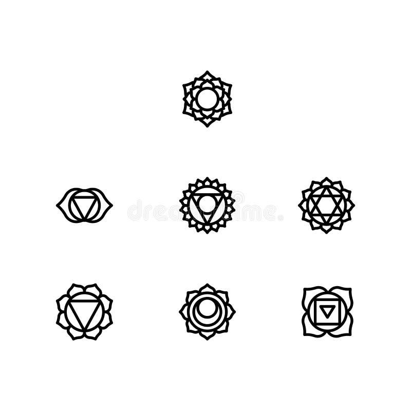 Τα σύμβολα Chakra καθορισμένα το πνευματικό διάνυσμα διανυσματική απεικόνιση