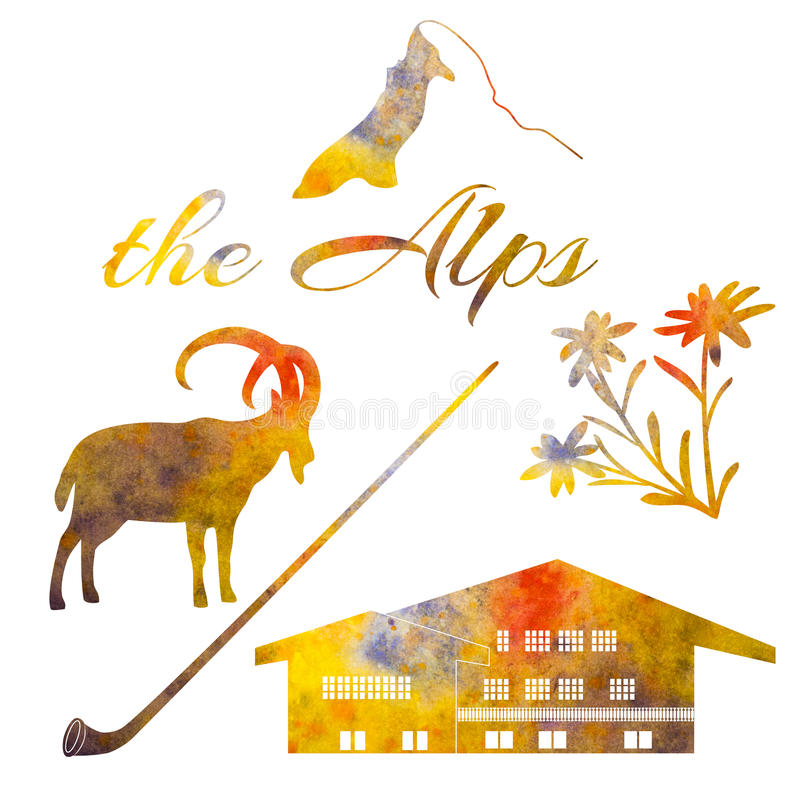 Τα σύμβολα Άλπεων Σύνολο αντικειμένων watercolor Matterhorn, σαλέ, edelweiss, alpenhorn διανυσματική απεικόνιση