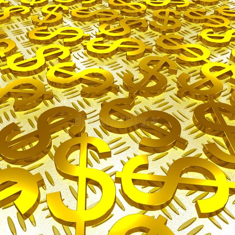 Τα σύμβολα δολαρίων πέρα από το πάτωμα παρουσιάζουν αμερικανική επένδυση απεικόνιση αποθεμάτων