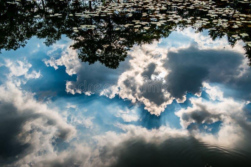 Τα σύννεφα απεικονίζουν στο νερό στοκ φωτογραφία με δικαίωμα ελεύθερης χρήσης