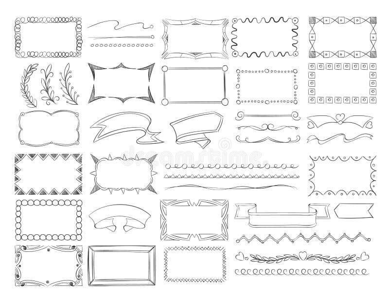 Τα σύνορα πλαισίων Doodle, συρμένα χέρι εμβλήματα κορδελλών και σκίτσο σχεδιάζουν το διανυσματικό σύνολο στοιχείων διακοσμήσεων στοκ εικόνα
