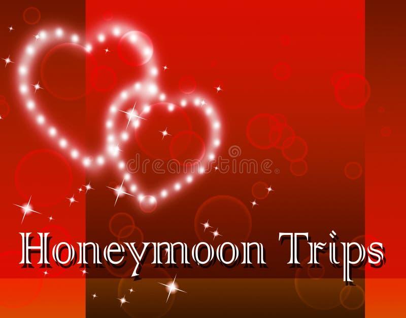Τα ταξίδια μήνα του μέλιτος αντιπροσωπεύουν τον οδηγό και τον προορισμό ταξιδιού απεικόνιση αποθεμάτων