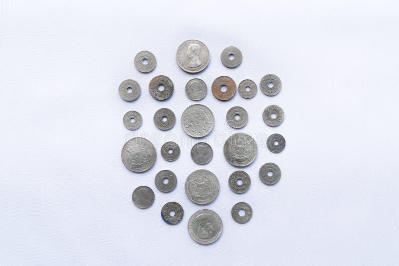Τα ταϊλανδικά νομίσματα νομίσματος έχουν χρησιμοποιηθεί ένα εκατό πριν από χρόνια στοκ φωτογραφία